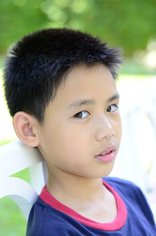 关闭泰国男孩态度。 免版税图库摄影