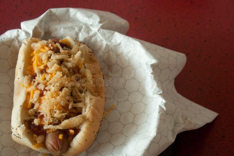 关闭热狗用辣味番茄酱,乳酪,葱 免版税库存照片