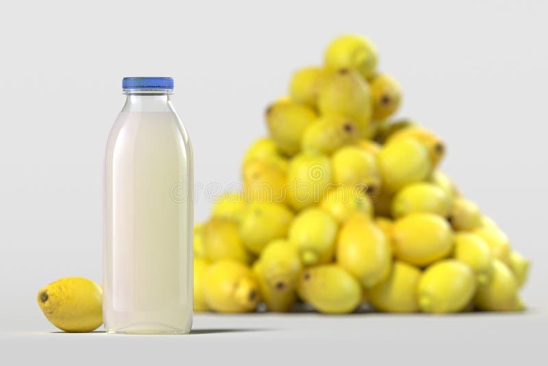 关闭玻璃瓶在轻的背景的新鲜的柠檬汁 3d?? 免版税库存图片