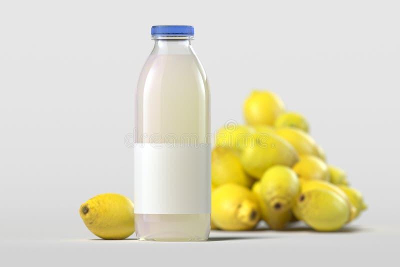 关闭玻璃瓶在轻的背景的新鲜的柠檬汁 3d?? 库存照片
