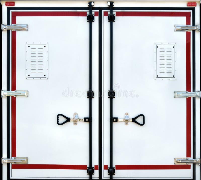 关闭的容器门 库存照片