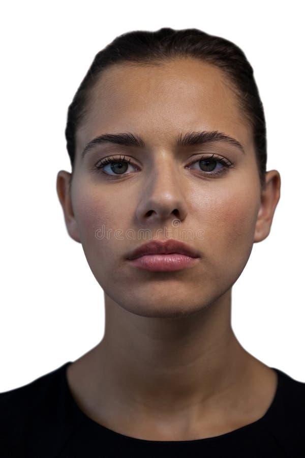 关闭确信的年轻女实业家画象  免版税图库摄影