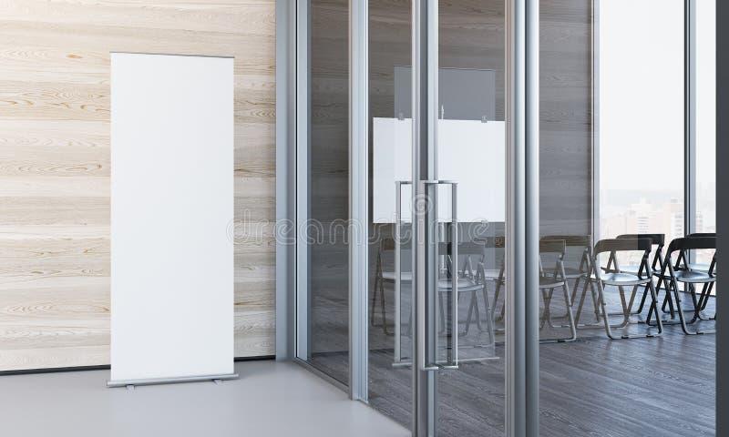 关闭空白白色在有木墙壁的现代办公室, 3d卷起翻译 库存照片