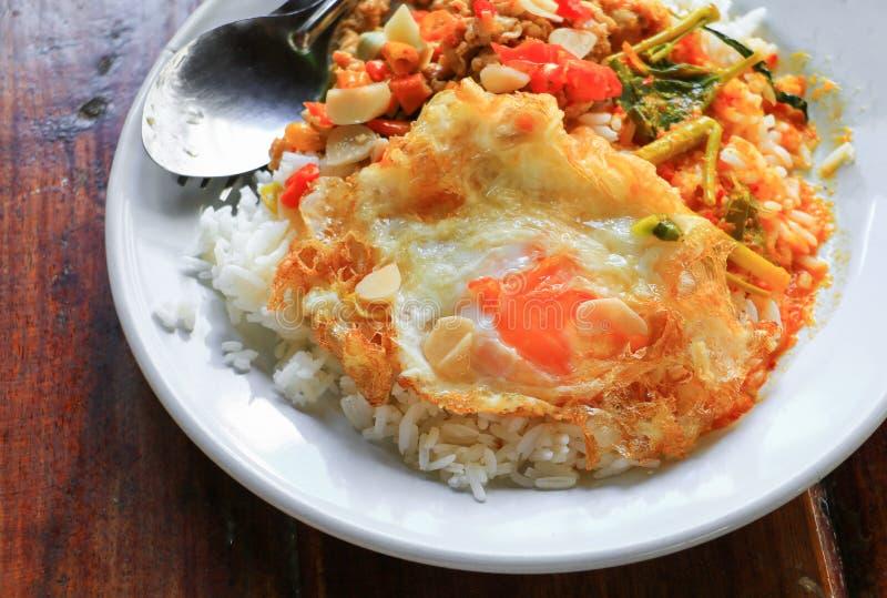 关闭米冠上与鸡蓬蒿用在木书桌上的煎蛋和咖喱辣泰国食物 免版税图库摄影