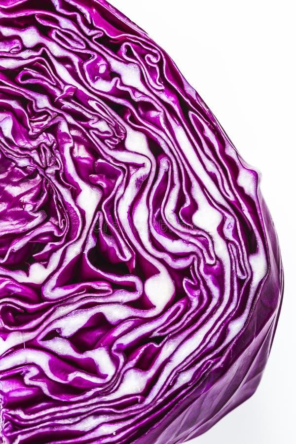 关闭紫色红叶卷心菜头 库存图片