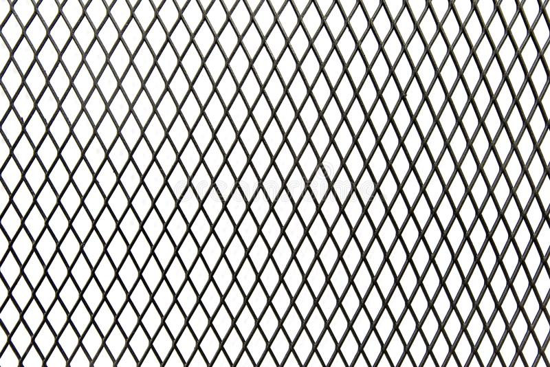 关闭纹理孤立的黑钢净笼子在白色背景 库存例证