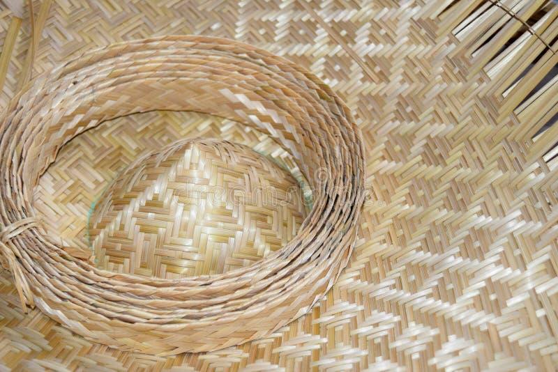 关闭编织的帽子竹织法板料 免版税图库摄影
