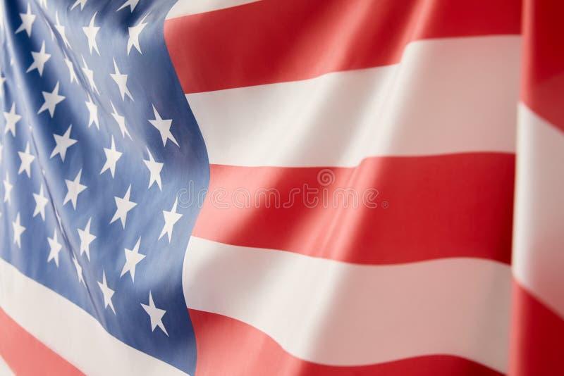 关闭美国旗子看法  库存图片