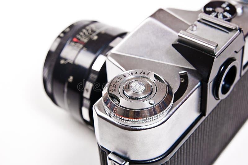 关闭老减速火箭的照片照相机看法在白色背景的 免版税库存照片