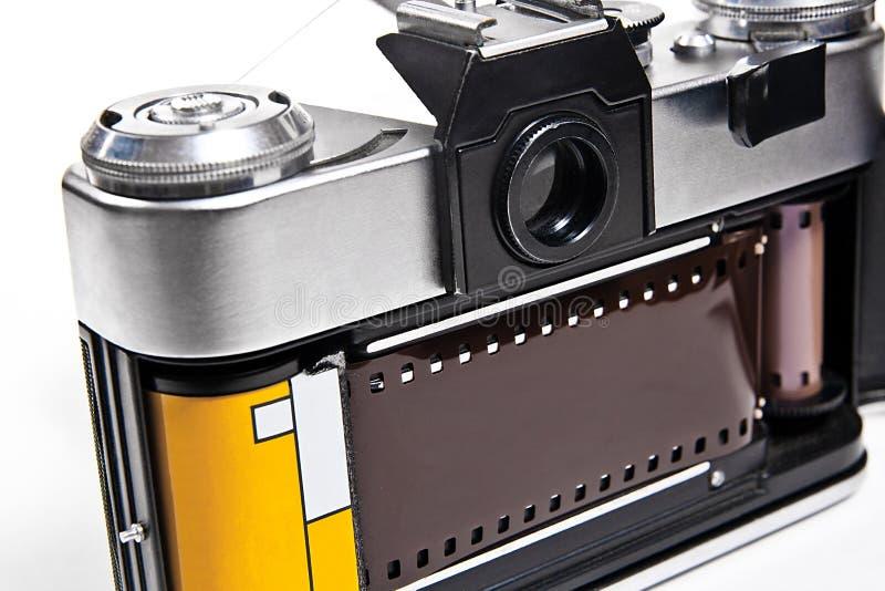 关闭老减速火箭的照相机看法在白色背景的 库存图片