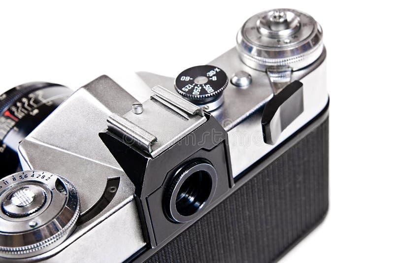 关闭老减速火箭的照相机看法在白色背景的 库存照片