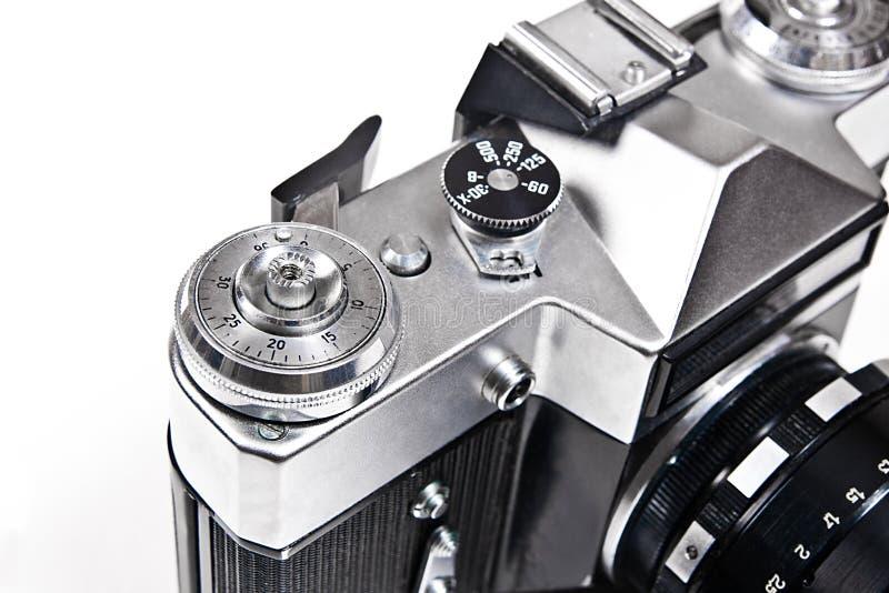 关闭老减速火箭的照相机看法在白色背景的 图库摄影