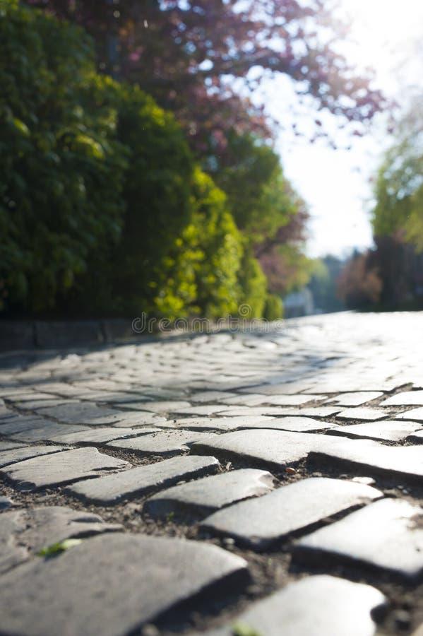 关闭老街道的路面 免版税库存图片