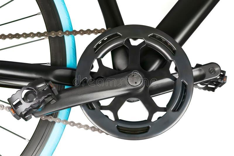 关闭自行车crankset chainring和脚蹬 免版税库存图片