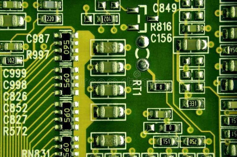 关闭色的微电路板 抽象背景技术 详细计算机机制 库存图片