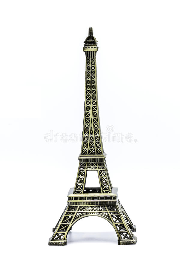 关闭艾菲尔铁塔的纪念品模型白色背景的 库存图片