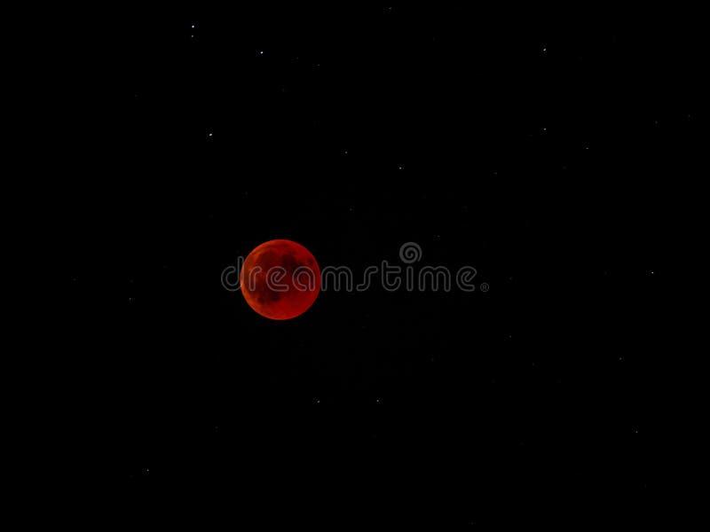 关闭血液月亮 红色满月2018年 免版税库存照片