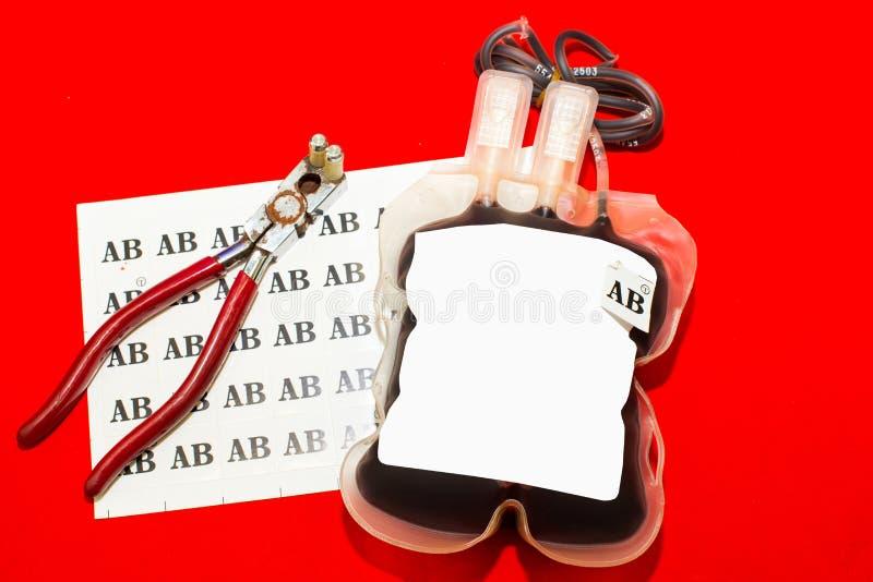 关闭袋子血液和等离子小组AB 图库摄影