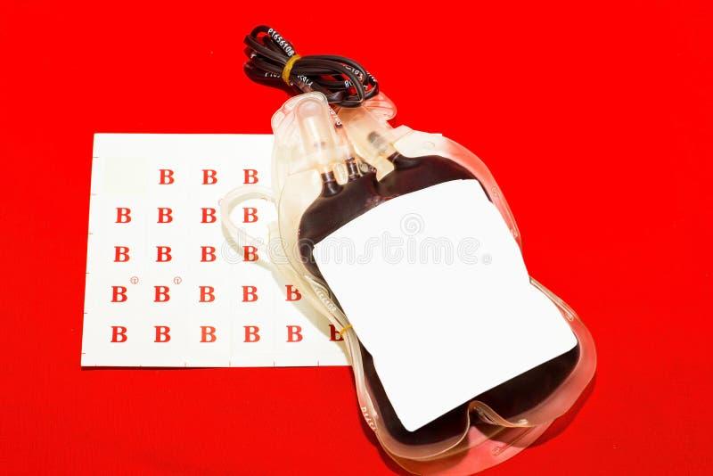 关闭袋子血液和等离子小组B 免版税库存照片