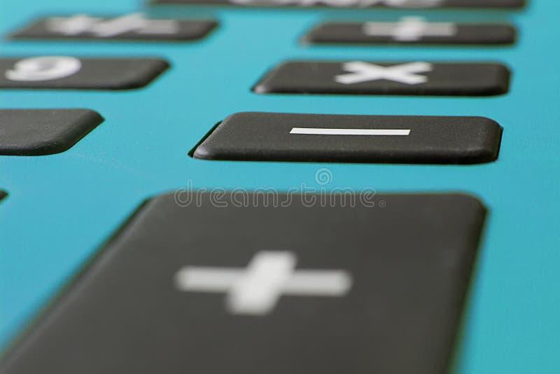 关闭计算器宏观射击  储款计算器 财务计算器 经济和家庭概念 信用卡计算器 Credi 免版税库存照片