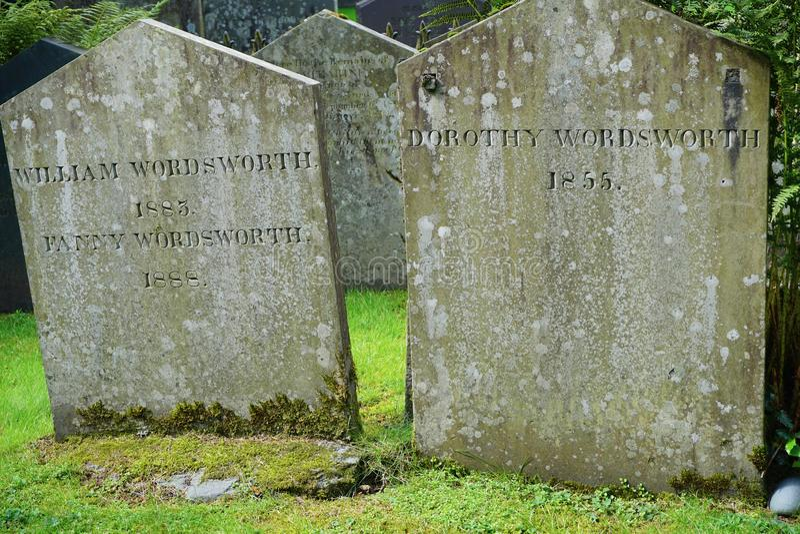 关闭诗人华兹华斯墓碑在英国湖区 库存图片