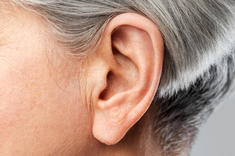 关闭资深妇女耳朵 免版税库存图片