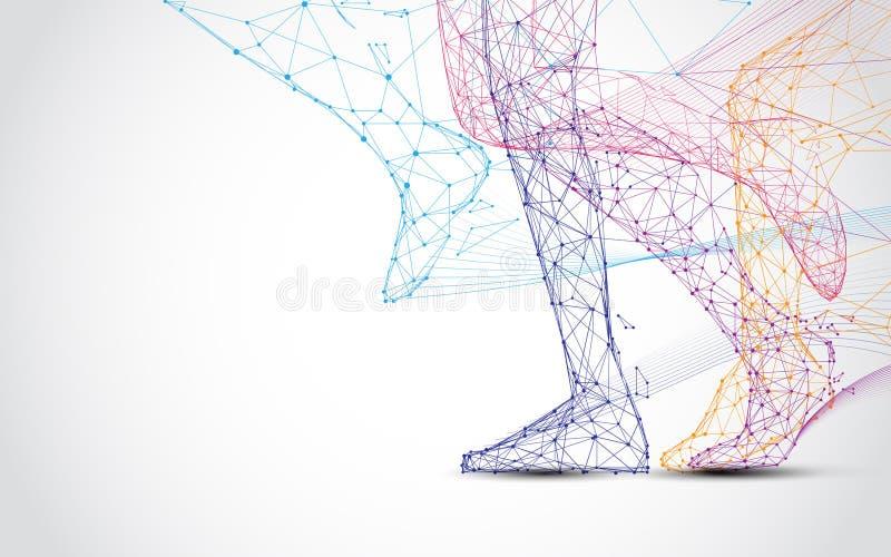 关闭赛跑者s腿跑形式线和三角,在蓝色背景的点连接的网络 库存例证
