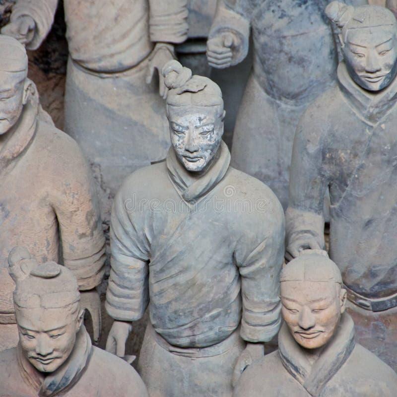 关闭赤土陶器战士的图片在博物馆在西安,中国 免版税库存图片