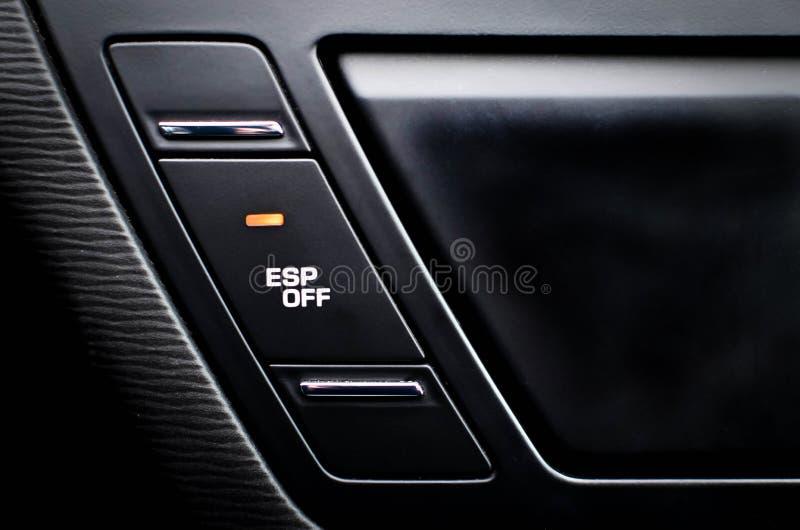 关闭里面汽车,按钮使牵引控制失去能力 免版税库存照片