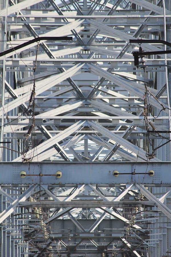 关闭金属铁路桥细节 免版税库存图片