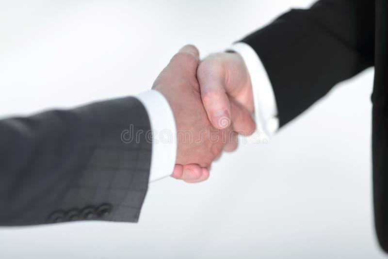 关闭 商务伙伴可靠的握手  库存照片