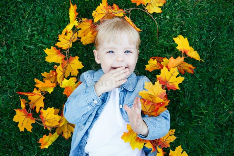 关闭滑稽的逗人喜爱的微笑的白白种人小孩儿童女孩画象有说谎在与黄色叶子的绿草的金发的 免版税库存照片
