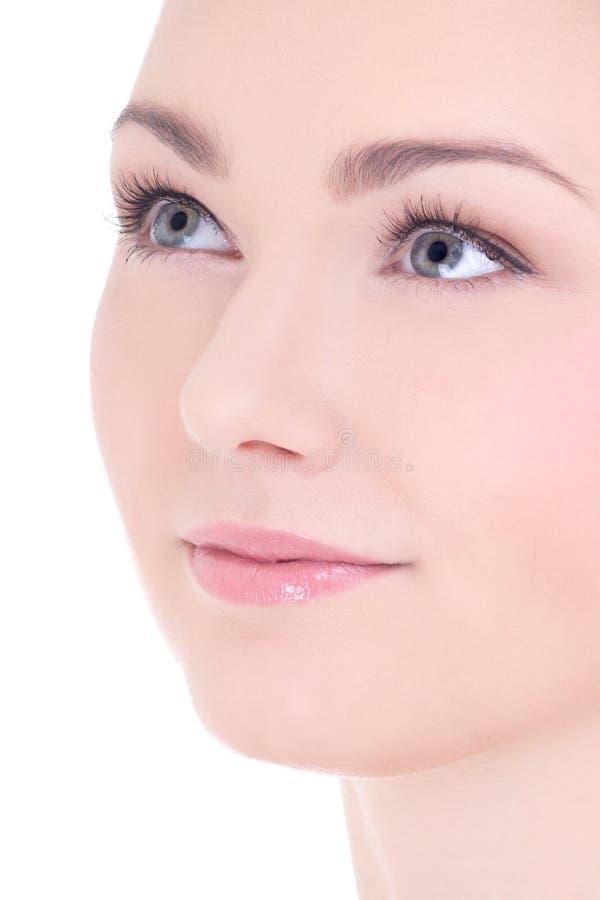 关闭年轻美丽的妇女画象有长的睫毛的a 库存图片