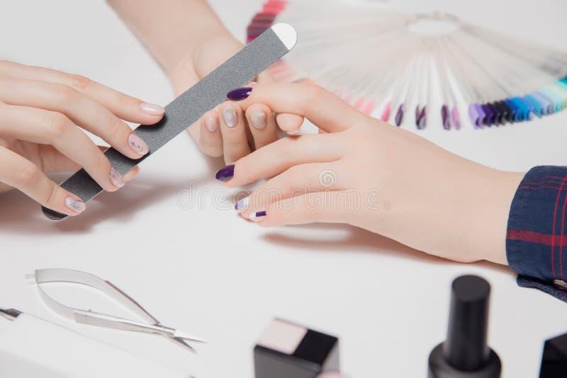 关闭 美丽的穿着考究的妇女的天鹅绒手 女性递修指甲进程 光滑的涂层 紫色,裸体指甲油 免版税库存照片