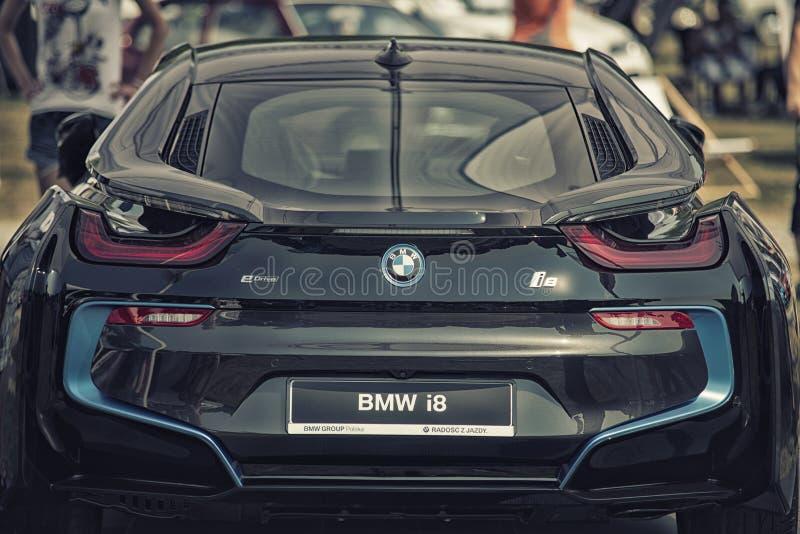 关闭BMW I8插入式杂种跑车 库存照片