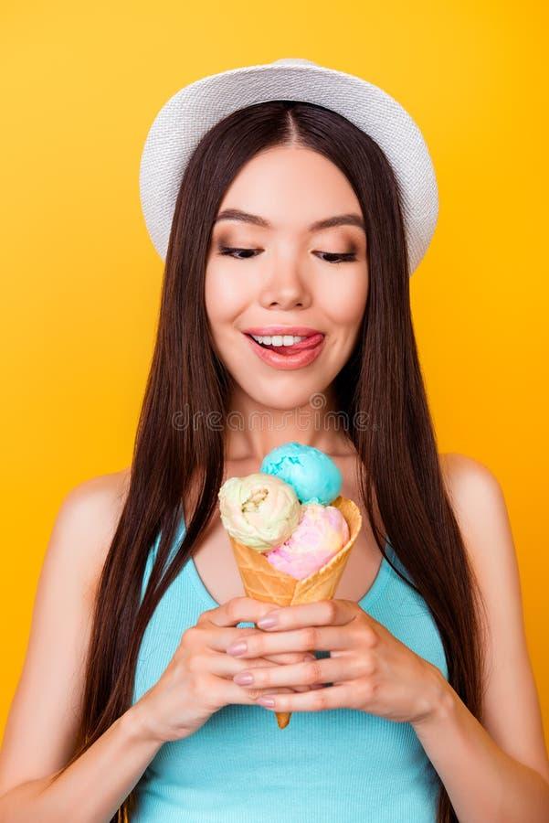 关闭dif三个瓢鲜美冰淇凌播种的照片  免版税库存图片