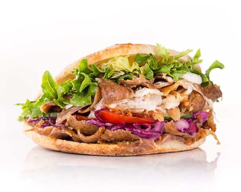 关闭kebab三明治 免版税图库摄影