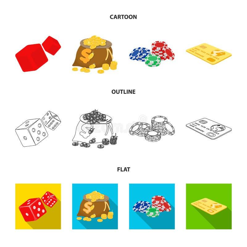 兴奋、休闲、爱好和其他网象在动画片,概述,平的样式 赌博娱乐场,机关,娱乐,象 向量例证