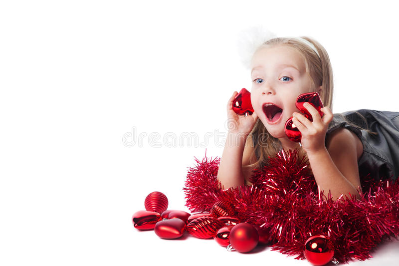 兴奋女孩小的新的玩具年 免版税库存图片