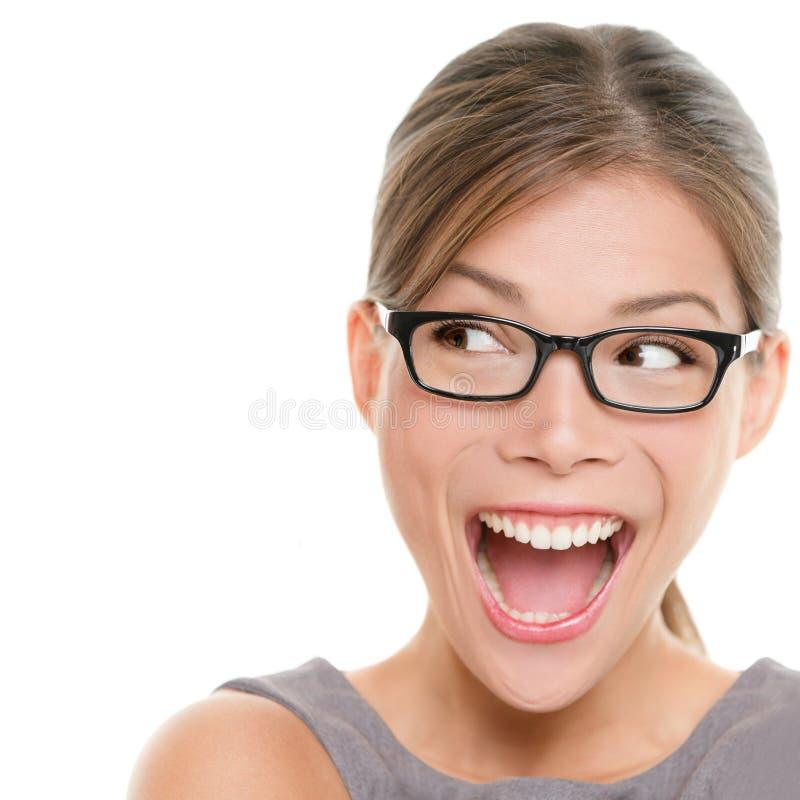 兴奋妇女查找 免版税库存图片