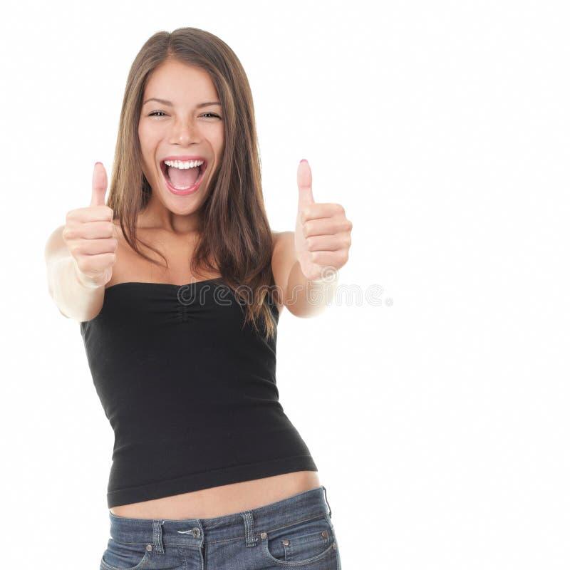 兴奋成功妇女 免版税库存图片