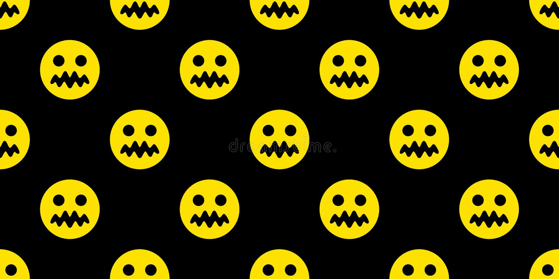 兴高采烈的面孔无缝的样式emoji象万圣节头骨鬼魂围巾被隔绝的重复墙纸瓦片背景动画片illus 向量例证
