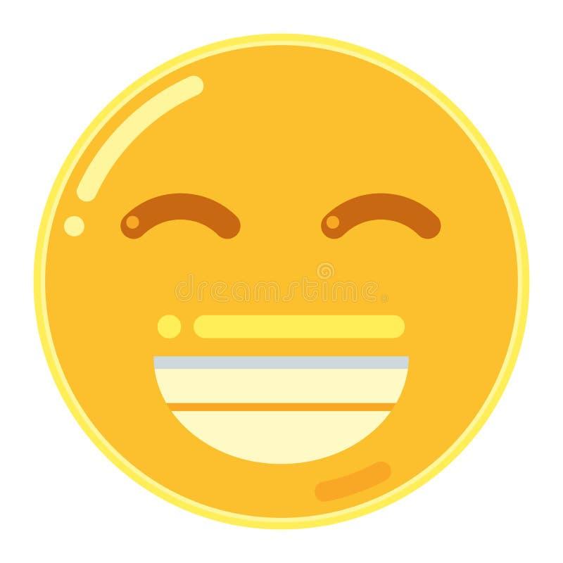 兴高采烈的面孔Emoji在平的设计象传染媒介例证的 皇族释放例证