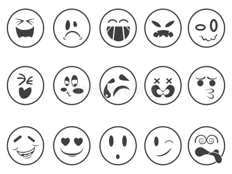 兴高采烈的Emoji面对概述象 库存例证