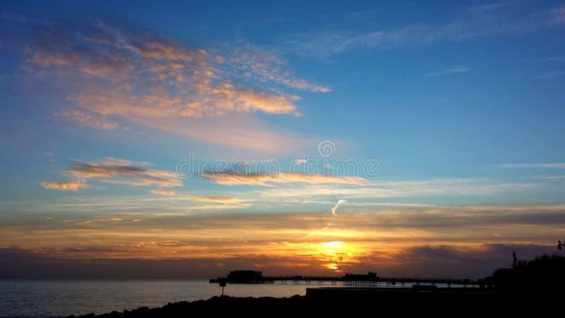 其中一1月` s美好的日落 库存图片