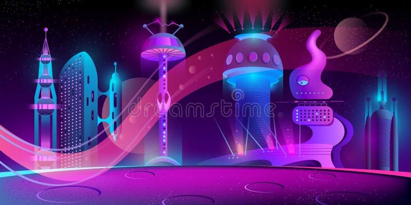 其他行星的传染媒介未来派城市,megapolis 库存例证