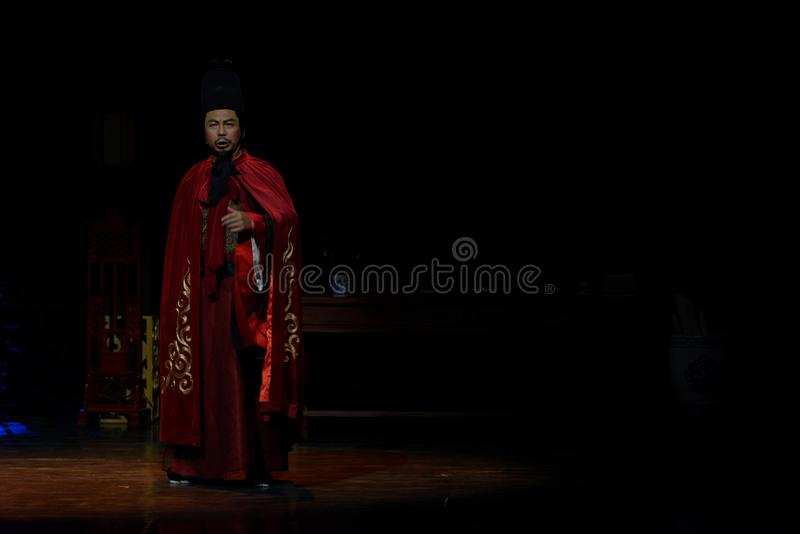 其次宁国王这行动的朱宸濠:军队大历史戏曲的夜, `阳明山三夜` 免版税库存照片