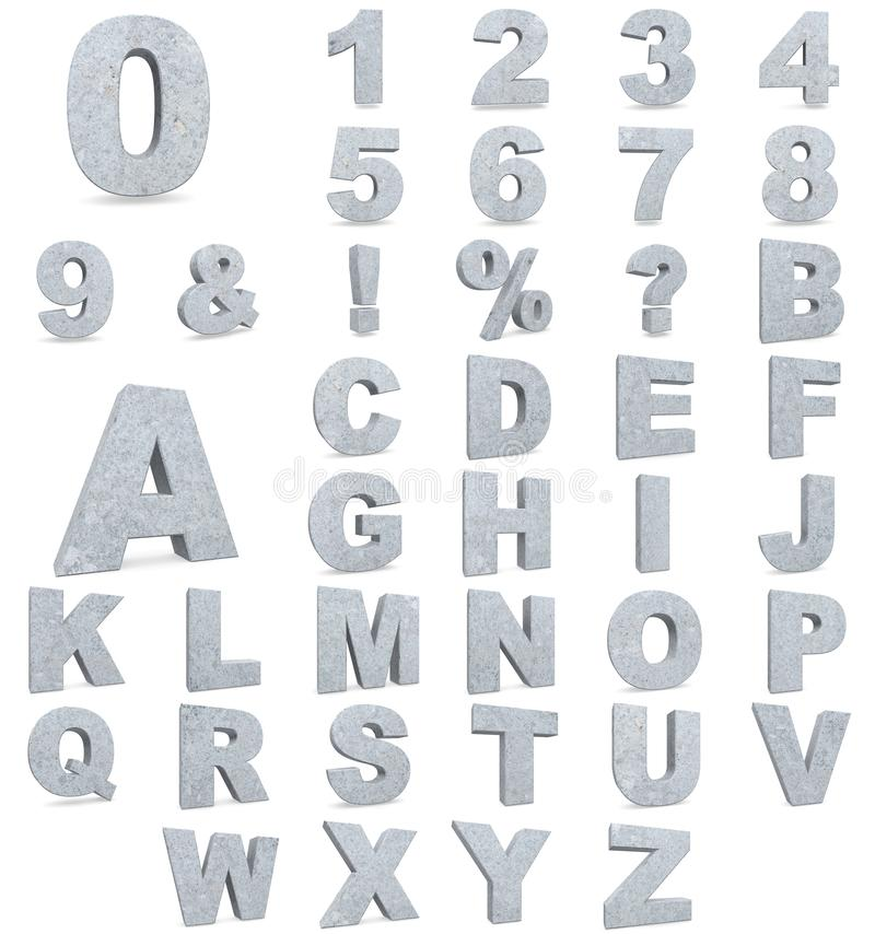 具体信件和数字字母表  3d例证回报 库存例证