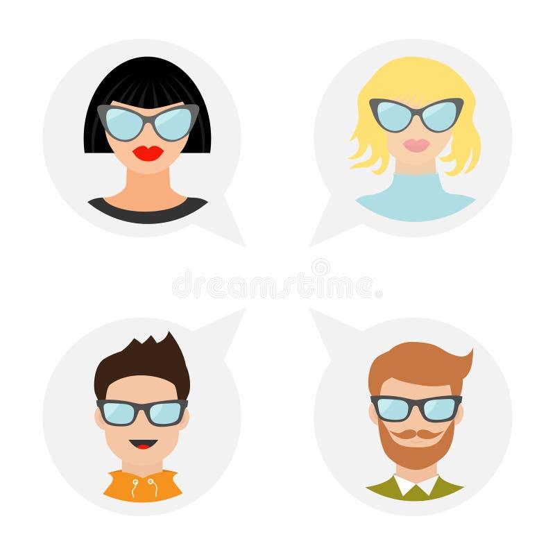 具体化人象集合 逗人喜爱的漫画人物 不同的面孔收藏 佩带镜片的人妇女 向量例证