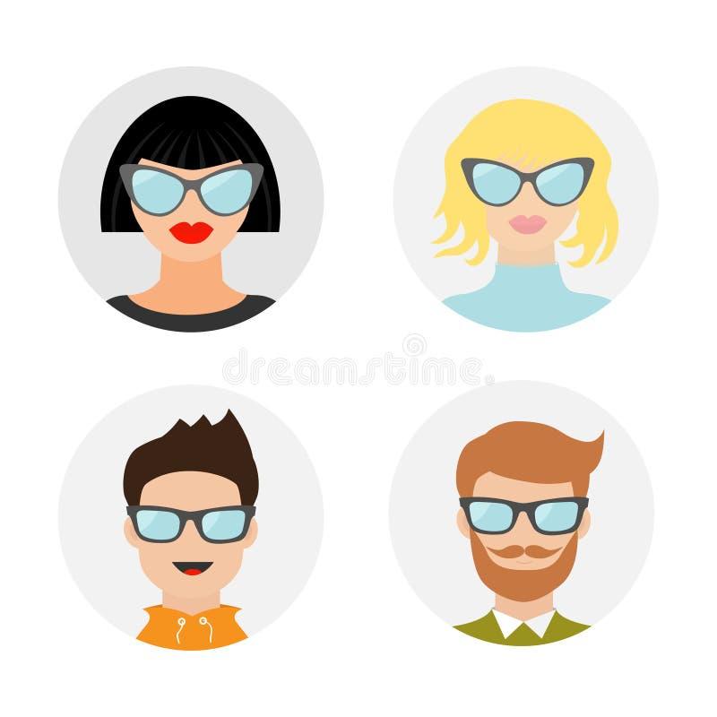具体化人象集合 逗人喜爱的漫画人物 不同的面孔收藏 佩带镜片的人妇女 库存例证
